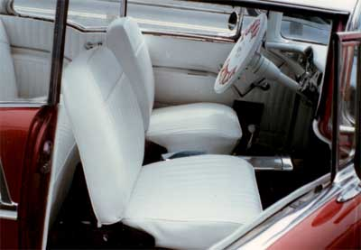 the kings of upholstery a classic white car interior. Black Bedroom Furniture Sets. Home Design Ideas